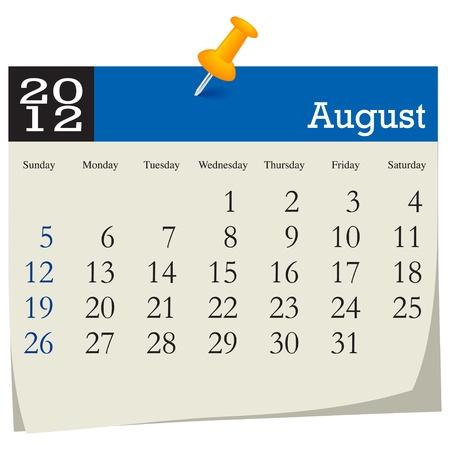 august 2012 calendar Vector