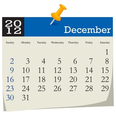 december 2012 calendar Stock Vector - 10619000