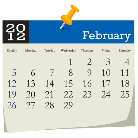 february 2012 calendar Stock Vector - 10618990