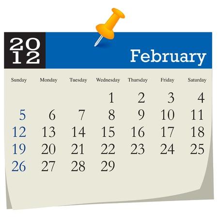 february 2012 calendar Vector