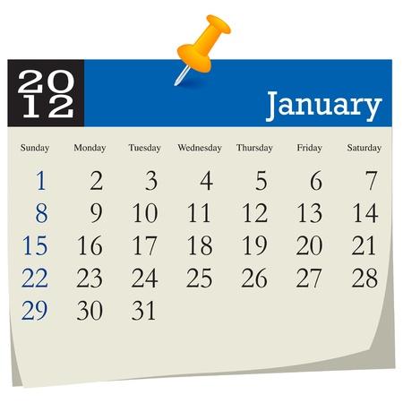 january 2012 calendar Stock Vector - 10618998