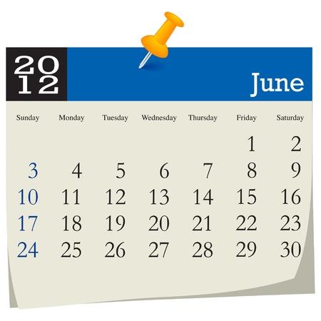 june 2012 calendar Vector