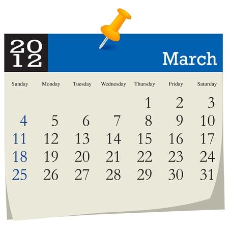 march 2012 calendar Stock Vector - 10618995