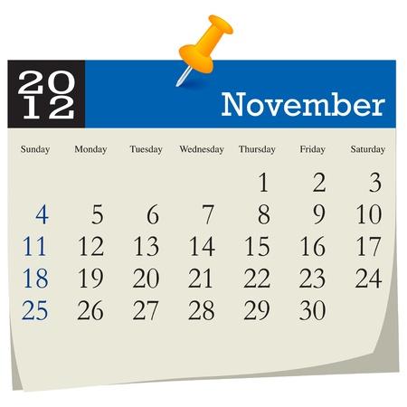 november 2012 calendar Vector