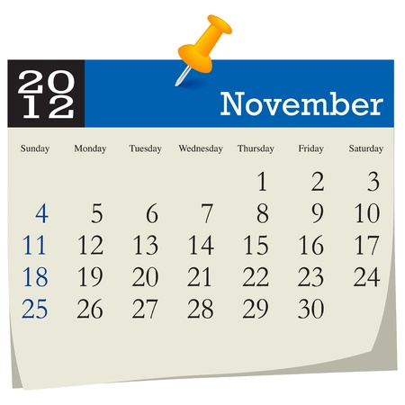 november 2012 calendar