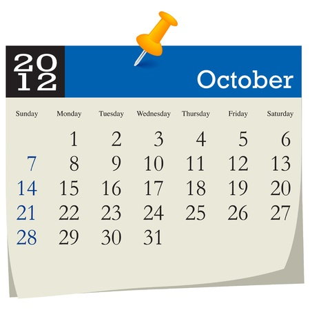 october 2012 calendar Stock Vector - 10618999