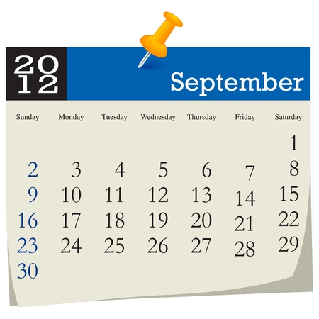 september 2012 calendar Stock Vector - 10618996