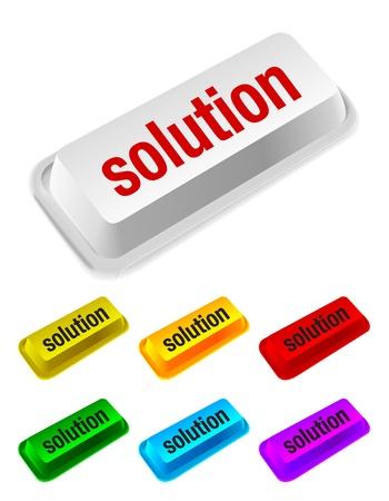 solution button Stock Vector - 10689517