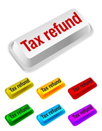 refund: tax refund button Illustration