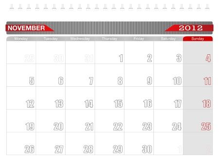 2012 November-Planning Calendar