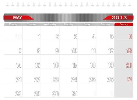 2012 May-Planning Calendar Stock Vector - 10918227