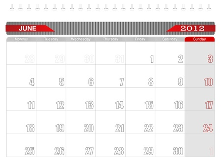 2012 June-Planning Calendar Vector