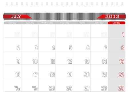2012 July-Planning Calendar Illustration