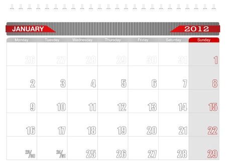2012 January -Planning Calendar Vector