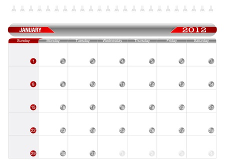 Planning Calendar- january2012 Stock Vector - 10918232