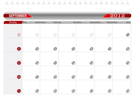 Planning Calendar -December2012 Stock Vector - 10918239