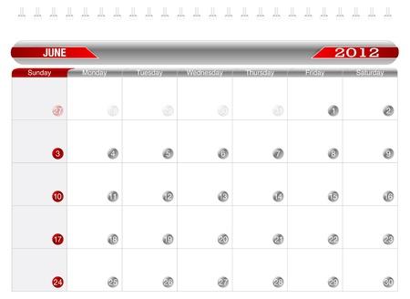 Planning Calendar -June2012 Vector