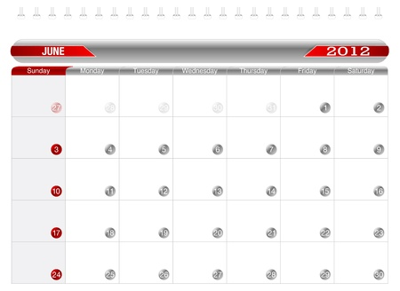 Planning Calendar -June2012 Stock Vector - 10918235