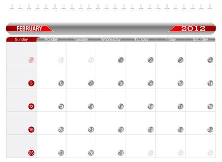 Planning Calendar -February2012 Vector