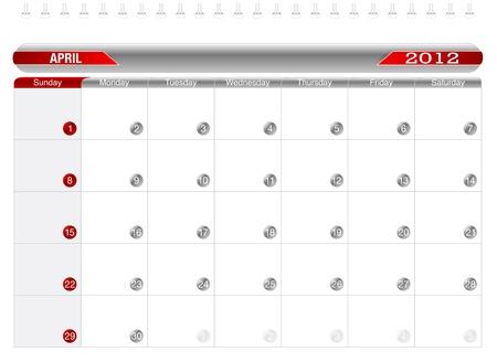 Planning Calendar -April2012 Vector