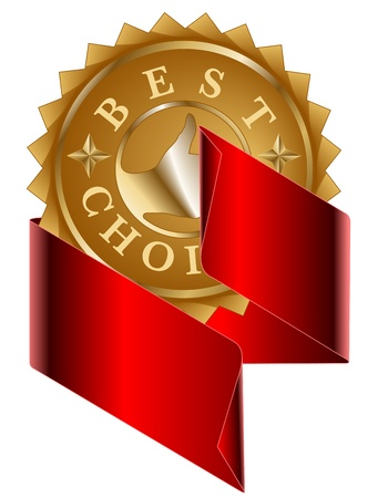 Best choice gold label and red ribbon Vector