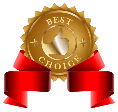 Best choice gold seal and red ribbon Vector