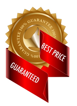 Best Price gold label and ribbon Vector