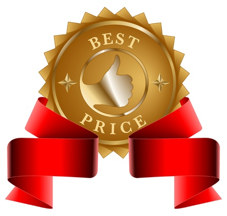 best price: Best Price gold seal and red ribbon Illustration