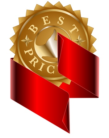 Best Price gold label and red ribbon Vector