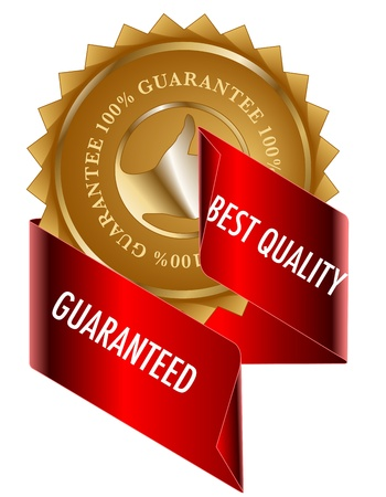Best Quality gold label and red ribbon