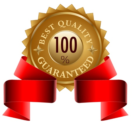 seal stamper: Best Quality gold seal and red ribbon Illustration
