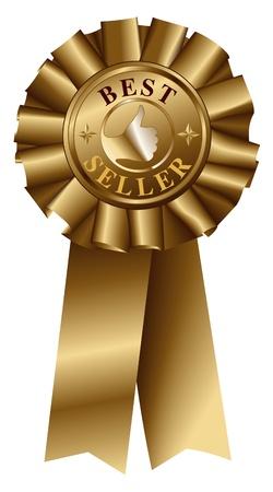 best seller: Best Seller Gold Ribbon Illustration