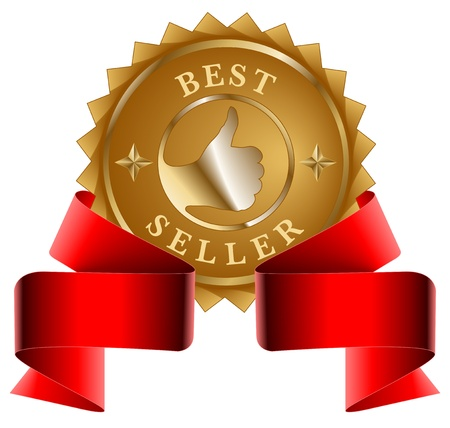 Best Seller gold seal and red ribbon Vector