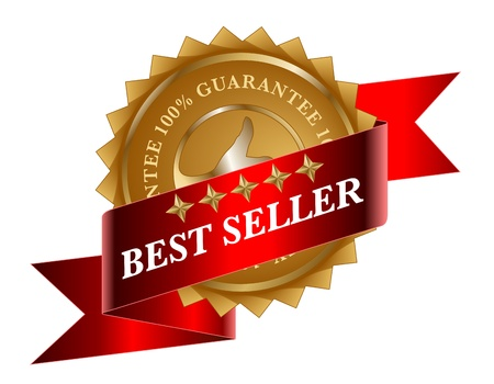 best seller: Best Seller rotes Band und gold label