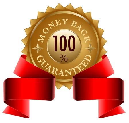 Moneyback Guaranteed gold seal and red ribbon Vector