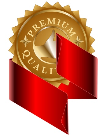 Premium quality gold label and red ribbon Vector
