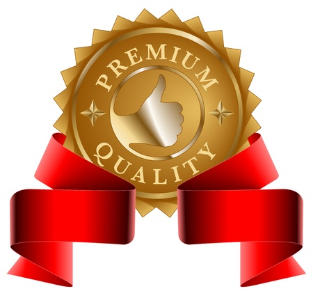 Premium Quality gold seal and red ribbon Stock Vector - 13157817