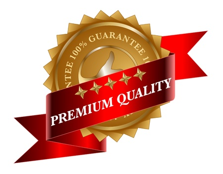 Premium Quality red ribbon and gold label Vector