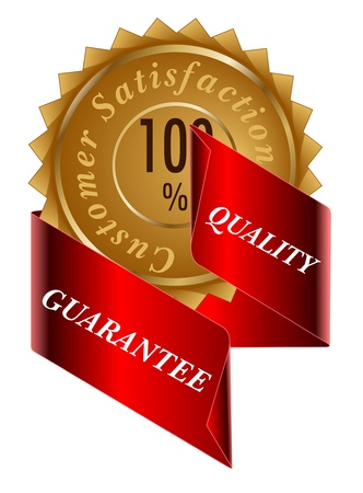 Satisfaction gold label and ribbon Vector