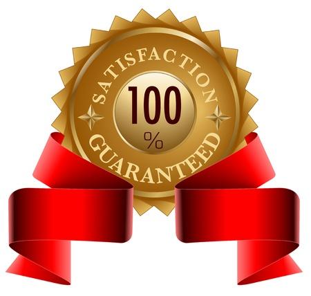 Satisfaction Guaranteed gold seal and red ribbon Vector