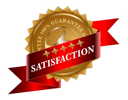 Satisfaction red ribbon and gold label Vector