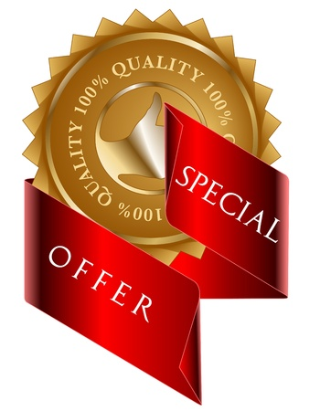 offer icon: Special Offer gold label and red ribbon
