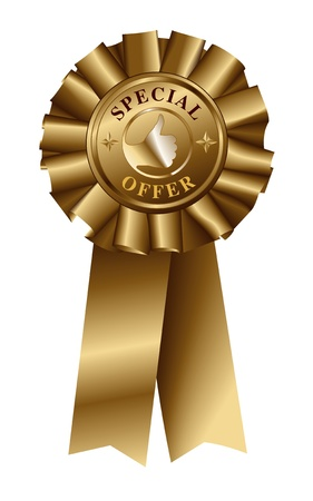 Special Offer Gold Ribbon Vector