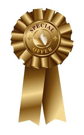 seal stamper: Special Offer Gold Ribbon Illustration