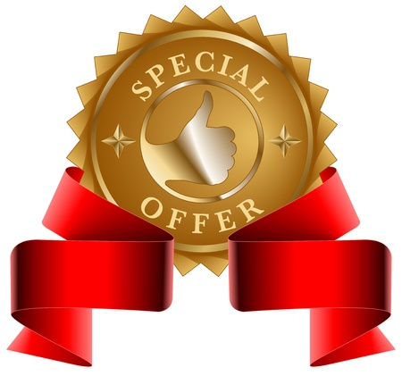 Special Offer gold seal and red ribbon Vector