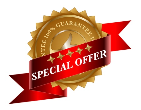 offer icon: Special Offer red ribbon and gold label
