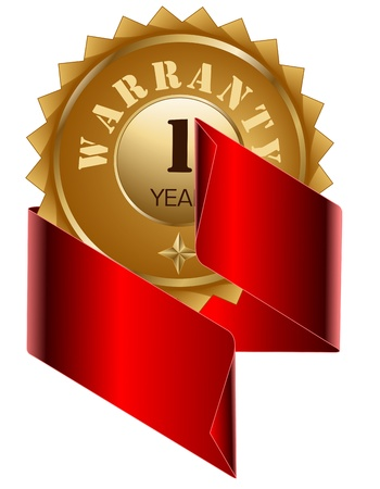 Warranty 1 Year seal and Red  Ribbon Stock Vector - 13157830