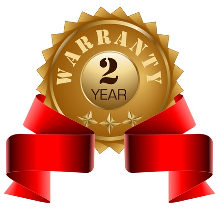Warranty 2 Year and Red Ribbon Vector
