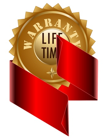 lifetime: Warranty Lifetime seal and Red  Ribbon