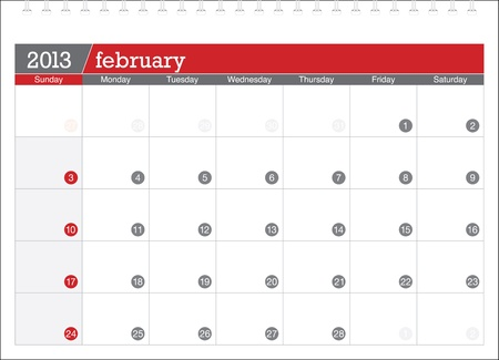 february 2013-planning calendar Stock Vector - 14647804